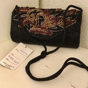 Vtg 90s black and gold beaded bag